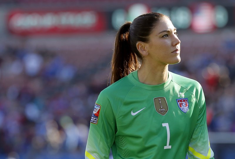 FILE - In this Feb. 13, 2016, file photo, United States goalie Hope Solo walks off the field at half time of a CONCACAF Olympic qualifying tournament soccer match against Mexico in Frisco, Texas. Solo was in goal four years ago in Canada when the United States won soccer's most prestigious tournament. She has no regrets about her acrimonious breakup with the team, which will seek to defend its title at the Women's World Cup in France.  (AP Photo/Tony Gutierrez, File)