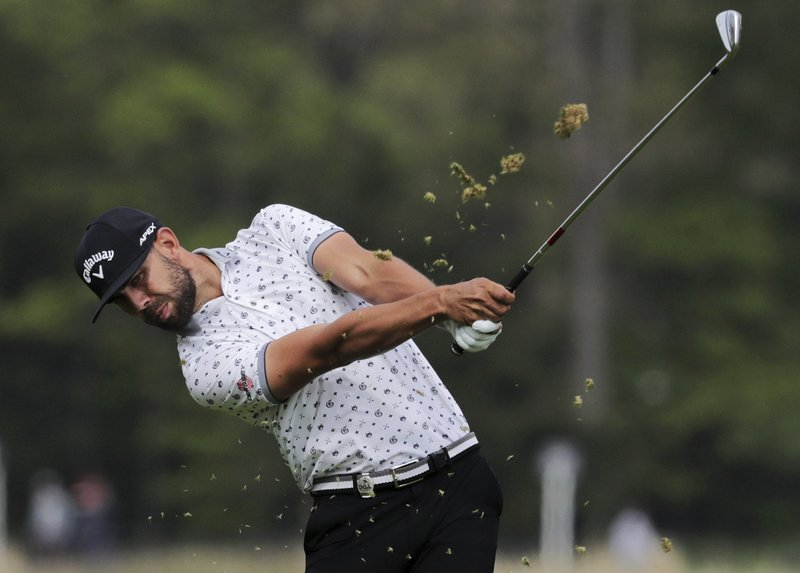 Erik Van Rooyen, of South Africa, hits off the 12th fairway during the second round of the PGA Championship golf tournament, Friday, May 17, 2019, at Bethpage Black in Farmingdale, N.Y. (AP Photo/Charles Krupa)