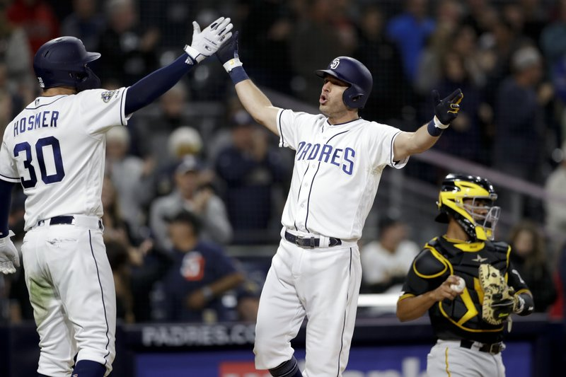 San Diego Padres' Ian Kinsler, center, celebrates with teammate Eric Hosmer (30) after hitting a three-run home run during the sixth inning of the team's baseball game against the San Diego Padres on Thursday, May 16, 2019, in San Diego. (AP Photo/Gregory Bull)