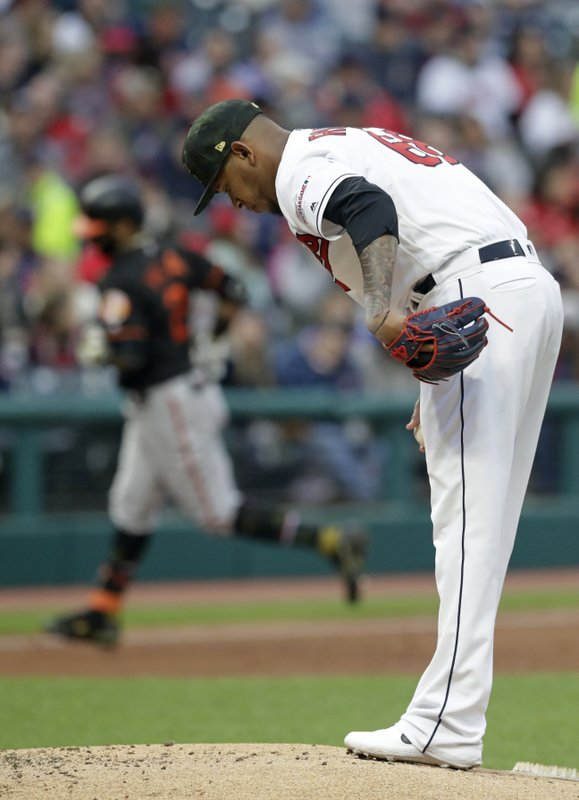 Cleveland Indians starting pitcher Jefry Rodriguez, right, waits for Baltimore Orioles' Jonathan Villar to run the bases after Villar hit a three-run home run in the third inning of a baseball game, Friday, May 17, 2019, in Cleveland. (AP Photo/Tony Dejak)