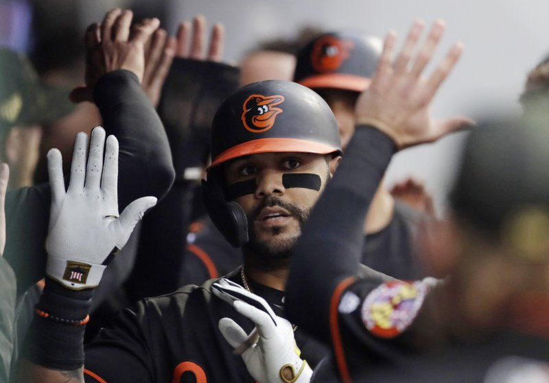 Baltimore Orioles' Jonathan Villar is congratulated after hitting a three-run home run off Cleveland Indians starting pitcher Jefry Rodriguez in the third inning of a baseball game, Friday, May 17, 2019, in Cleveland. (AP Photo/Tony Dejak)