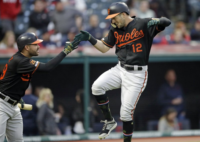 Baltimore Orioles' Stevie Wilkerson, right, and Renato Nunez celebrate after Wilkerson hit a solo home run off Cleveland Indians starting pitcher Jefry Rodriguez in the fourth inning of a baseball game, Friday, May 17, 2019, in Cleveland. (AP Photo/Tony Dejak)