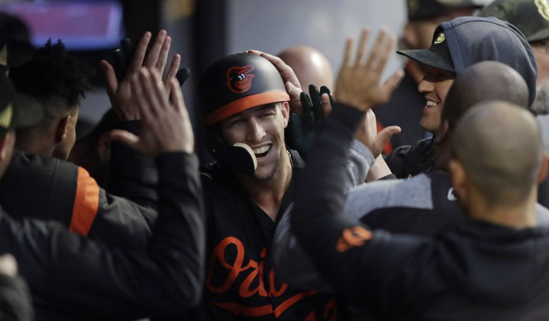 Baltimore Orioles' Stevie Wilkerson is congratulated by teammates after hitting a solo home run in the fourth inning of a baseball game against the Cleveland Indians, Friday, May 17, 2019, in Cleveland. (AP Photo/Tony Dejak)