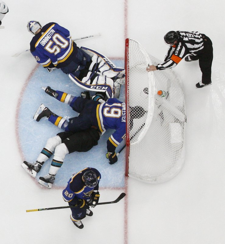 San Jose Sharks center Tomas Hertl, of the Czech Republic, ends up under St. Louis Blues defenseman Jay Bouwmeester (19) after Hertl scored a goal past Blues goaltender Jordan Binnington (50) during the third period in Game 4 of the NHL hockey Stanley Cup Western Conference final series Friday, May 17, 2019, in St. Louis. (AP Photo/Jeff Roberson)