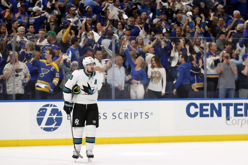 San Jose Sharks center Logan Couture skates off the ice after the St. Louis Blues won Game 4 of the NHL hockey Stanley Cup Western Conference final series Friday, May 17, 2019, in St. Louis. The Blues won 2-1 to even the series 2-2. (AP Photo/Jeff Roberson)