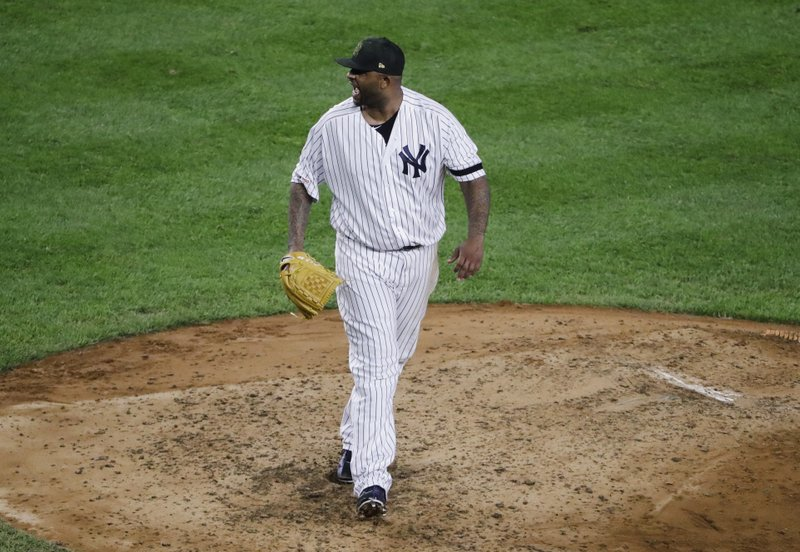 New York Yankees' CC Sabathia reacts after striking out Tampa Bay Rays' Brandon Lowe during the sixth inning of a baseball game Friday, May 17, 2019, in New York. (AP Photo/Frank Franklin II)