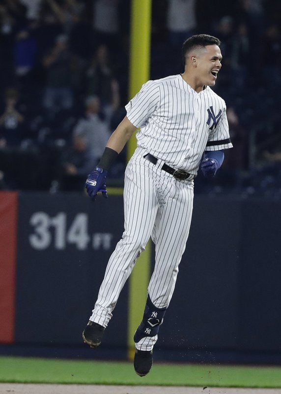 New York Yankees' Gio Urshela celebrates after hitting an RBI single to end the baseball game against the Tampa Bay Rays on Friday, May 17, 2019, in New York. The Yankees won 4-3. (AP Photo/Frank Franklin II)