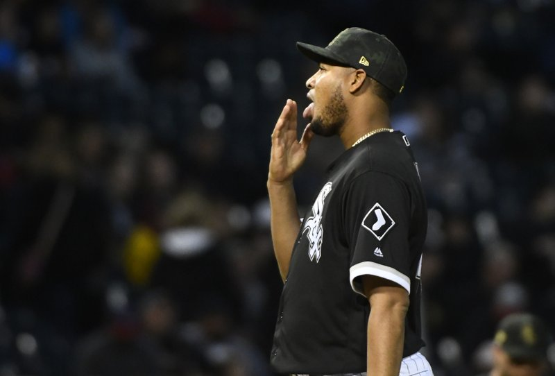 Chicago White Sox starting pitcher Ivan Nova waits after Toronto Blue Jays' Justin Smoak scored during the third inning of a baseball game Friday, May 17, 2019, in Chicago. (AP Photo/Matt Marton)