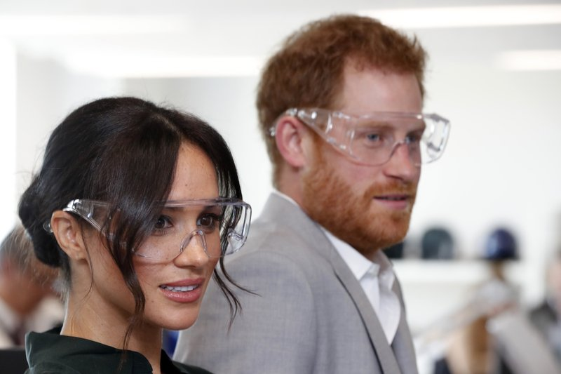 FILE - In this Wednesday, Oct. 3, 2018 file photo, Britain's Prince Harry and Meghan, the Duchess of Sussex visit the University of Chichester Tech Park, south east England. Sunday, May 19, 2019 marks the first wedding anniversary of the besotted couple. (Heathcliff O'Malley/Pool Photo via AP, File)