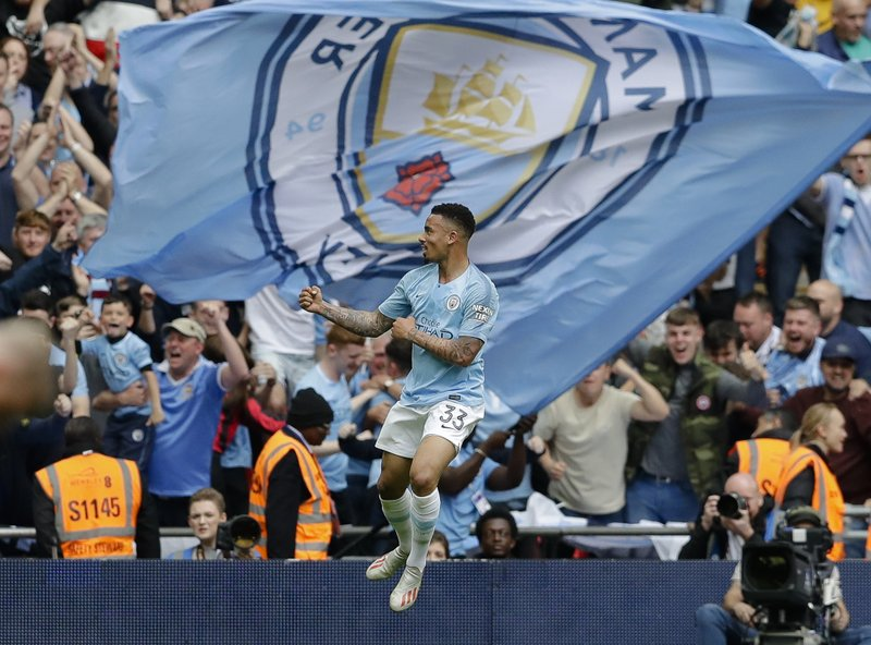 Manchester City's Gabriel Jesus celebrates after scoring his side's fourth goal during the English FA Cup Final soccer match between Manchester City and Watford at Wembley stadium in London, Saturday, May 18, 2019. (AP Photo/Kirsty Wigglesworth)