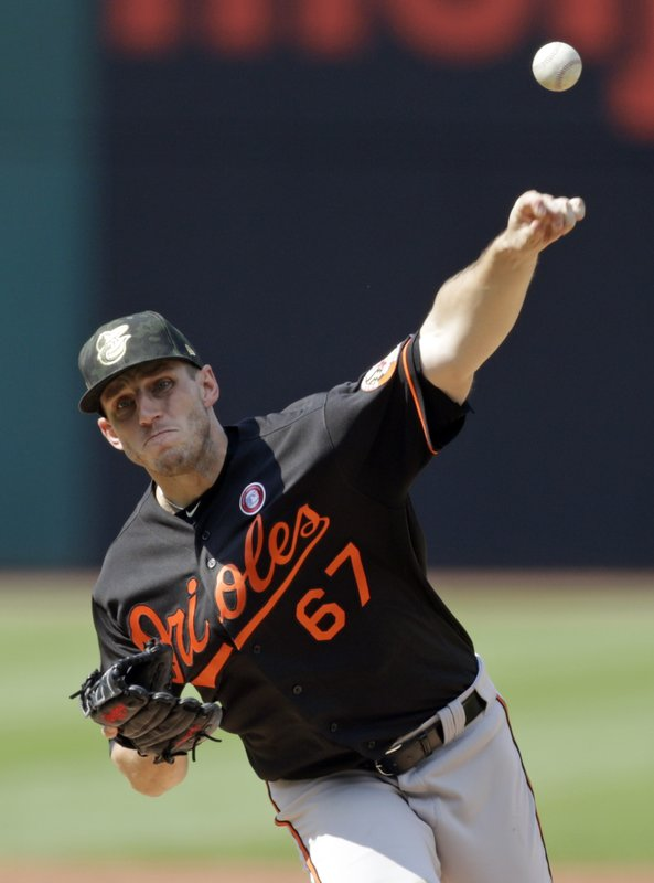 Baltimore Orioles starting pitcher John Means delivers in the first inning of a baseball game against the Cleveland Indians, Saturday, May 18, 2019, in Cleveland. (AP Photo/Tony Dejak)