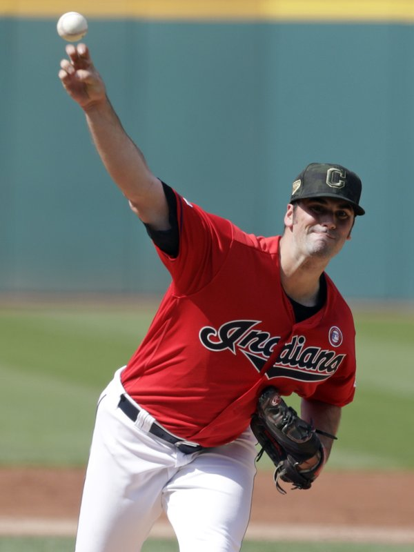 Cleveland Indians starting pitcher Adam Plutko delivers in the first inning of a baseball game against the Baltimore Orioles, Saturday, May 18, 2019, in Cleveland. (AP Photo/Tony Dejak)