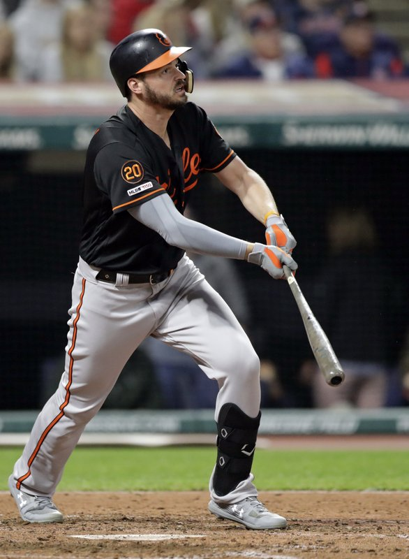Baltimore Orioles' Trey Mancini hits a double in the eighth inning of a baseball game against the Cleveland Indians, Friday, May 17, 2019, in Cleveland. (AP Photo/Tony Dejak)