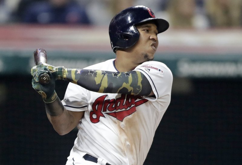 Cleveland Indians' Jose Ramirez strikes out in the eighth inning of a baseball game against the Baltimore Orioles, Friday, May 17, 2019, in Cleveland. (AP Photo/Tony Dejak)