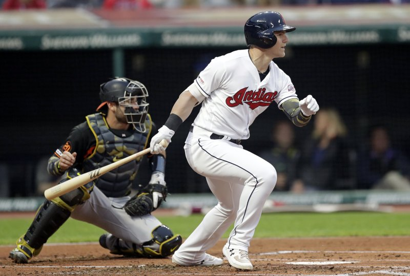 Cleveland Indians' Jake Bauers, right, watches his RBI-single off Baltimore Orioles starting pitcher Dylan Bundy as Orioles catcher Austin Wynns looks on in the second inning of a baseball game, Friday, May 17, 2019, in Cleveland. Jose Ramirez scored on the play. (AP Photo/Tony Dejak)