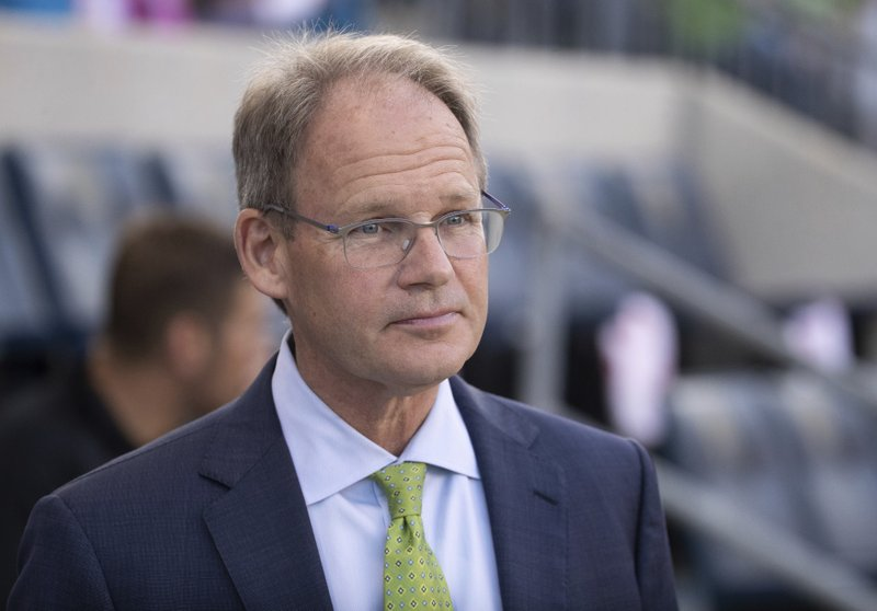 Seattle Sounders coach Brian Schmetzer waits for the team's MLS soccer match against the Philadelphia Union, Saturday, May 18, 2019, in Chester, Pa. (AP Photo/Chris Szagola)
