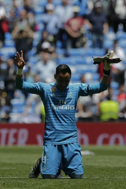 Real Madrid's goalkeeper Keylor Navas at the end of a Spanish La Liga soccer match between Real Madrid and Betis at the Santiago Bernabeu stadium in Madrid, Spain, Sunday, May 19, 2019. (AP Photo/Bernat Armangue)