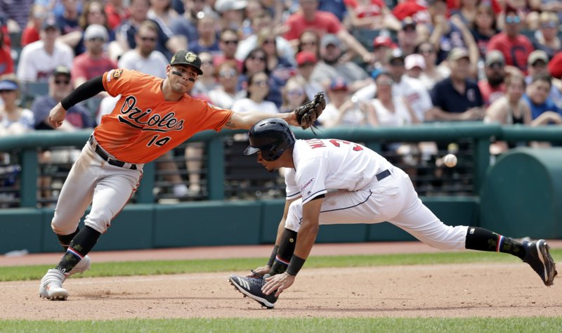 Baltimore Orioles' Rio Ruiz, left, reaches but can't get to the ball thrown by relief pitcher Gabriel Ynoa as Cleveland Indians' Oscar Mercado runs to third base in the sixth inning of a baseball game, Sunday, May 19, 2019, in Cleveland. Mercado scored on the error by Ynoa. (AP Photo/Tony Dejak)