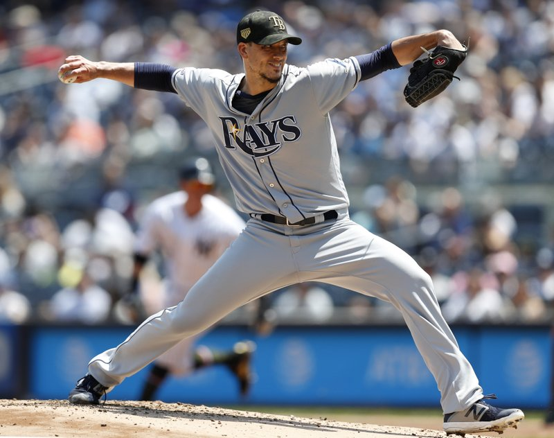 Tampa Bay Rays starting pitcher Charlie Morton throws during the first inning of a baseball game against the New York Yankees, Sunday, May 19, 2019, in New York. (AP Photo/Kathy Willens)