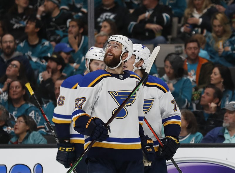 St. Louis Blues' Alex Pietrangelo (27) celebrates a goal against the San Jose Sharks by Oskar Sundqvist (not shown)  in the first period in Game 5 of the NHL hockey Stanley Cup Western Conference finals in San Jose, Calif., Sunday, May 19, 2019. (AP Photo/Josie Lepe)