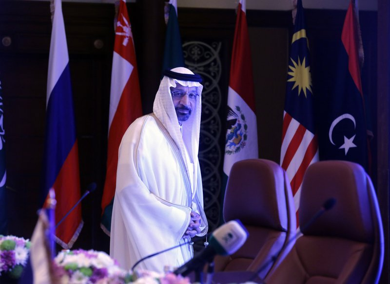 Saudi Minister of Energy, Industry and Mineral Resources Khalid al-Falih prepares to chair a meeting of energy ministers from OPEC and its allies to discuss prices and production cuts, in Jiddah, Saudi Arabia, Sunday, May 19, 2019. The meeting takes places as tensions flare in the Persian Gulf after the U.S. ordered bombers and an aircraft carrier to the region over an unexplained threat they perceive from Iran, which comes a year after the U.S. unilaterally pulled out of Tehran's nuclear deal with world powers and reimposed sanctions on Iranian oil. (AP Photo/Amr Nabil)