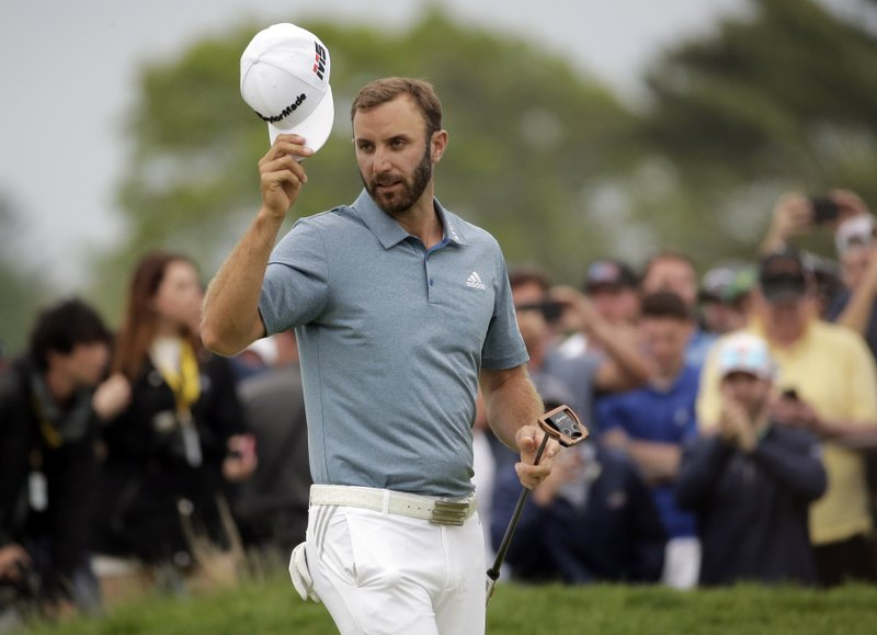 Dustin Johnson tips his hat after finishing the final round of the PGA Championship golf tournament, Sunday, May 19, 2019, at Bethpage Black in Farmingdale, N.Y. (AP Photo/Seth Wenig)