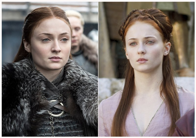 This combination photo of images released by HBO shows Sophie Turner portraying Sansa Stark in