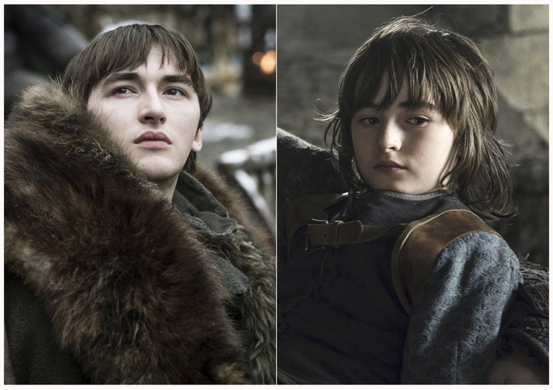 This combination photo of images released by HBO shows Isaac Hempstead Wright portraying Bran Stark in