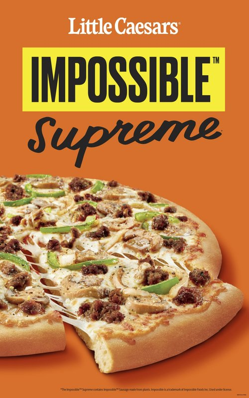 This undated image provided by Little Caesars shows the Impossible Supreme pizza. Plant-based burger maker Impossible Foods is debuting its second product - meatless sausage crumbles - on Little Caesars pizza. Little Caesars will start testing the Impossible Supreme Pizza on Monday, May 20, 2019, at 58 restaurants in Fort Myers, Florida; Yakima, Washington; and Albuquerque, New Mexico. If the test goes well, Detroit-based Little Caesars could expand availability nationwide. (Little Caesars via AP)