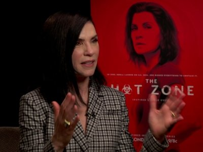 "Actress Julianna Margulies shares just how stressful wearing a sealed, full-body biosafety suit was while filming ""The Hot Zone."" (May 13)"