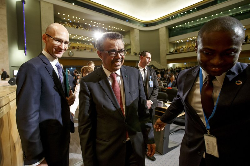 Tedros Adhanom Ghebreyesus, center, Director General of the World Health Organization (WHO) arrives for the opening of the 72nd World Health Assembly at the European headquarters of the United Nations in Geneva, Switzerland, Monday, May 20, 2019. (Salvatore Di Nolfi/Keystone via AP)
