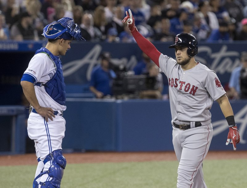 Boston Red Sox' Michael Chavis crosses home plate as Toronto Blue Jays catcher Luke Maile looks on after hitting a two-run home run in the third inning of their baseball game in Toronto, Monday, May 20, 2019. (Fred Thornhill/The Canadian Press via AP)