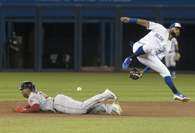 Toronto Blue Jays second baseman Richard Urena can't put the tag on Boston Red Sox Rafael Devers who is safe stealing second base in the first inning of their baseball game in Toronto, Monday, May 20, 2019. (Fred Thornhill/The Canadian Press via AP)