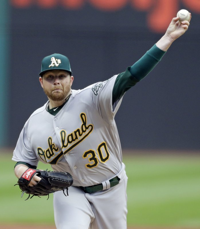 Oakland Athletics starting pitcher Brett Anderson delivers in the first inning of a baseball game against the Cleveland Indians, Monday, May 20, 2019, in Cleveland. (AP Photo/Tony Dejak)