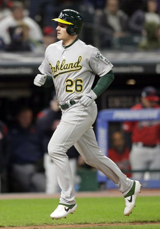 Oakland Athletics' Matt Chapman runs the bases after hitting a two-run home run in the ninth inning of a baseball game against the Cleveland Indians, Monday, May 20, 2019, in Cleveland. Marcus Semien also scored on the play. (AP Photo/Tony Dejak)