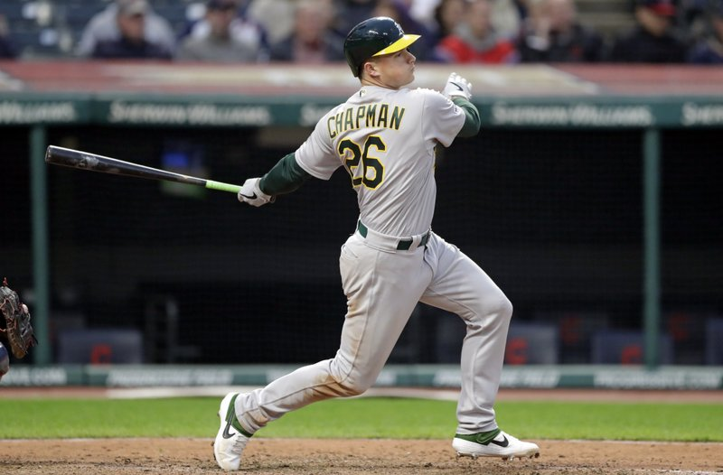 Oakland Athletics' Matt Chapman watches his RBI-single off Cleveland Indians relief pitcher Dan Otero in the seventh inning of a baseball game, Monday, May 20, 2019, in Cleveland. Marcus Semien scored on the play. (AP Photo/Tony Dejak)