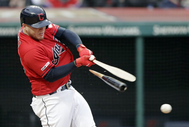 Cleveland Indians' Roberto Perez breaks his bat in the fifth inning of a baseball game against the Oakland Athletics, Monday, May 20, 2019, in Cleveland. Perez was out on the play. (AP Photo/Tony Dejak)