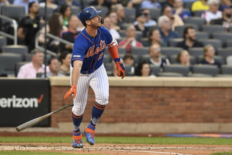 New York Mets' Pete Alonso drops his bat after hitting a home run during the first inning of a baseball game against the Washington Nationals, Monday, May 20, 2019, in New York. (AP Photo/Sarah Stier)