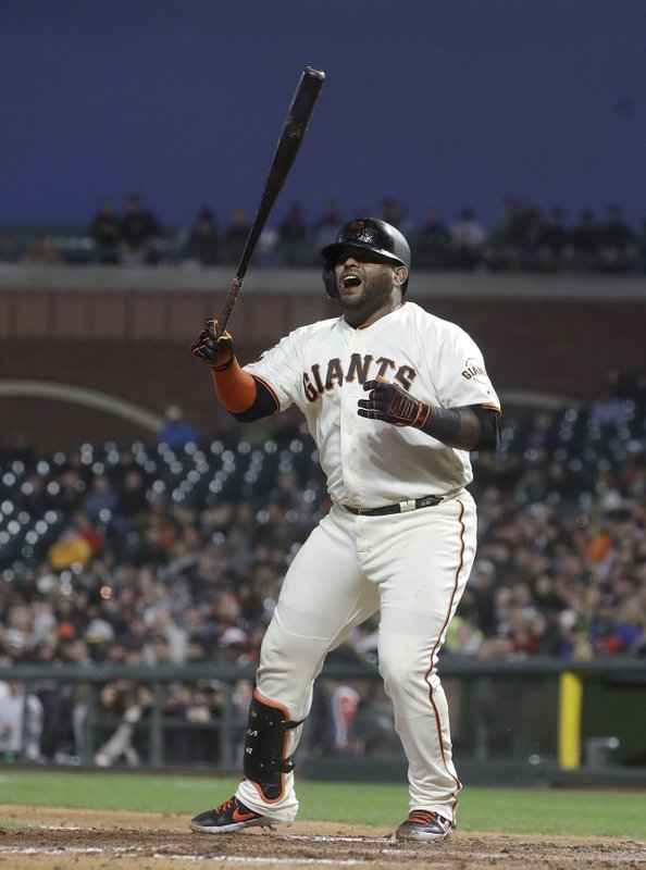 San Francisco Giants' Pablo Sandoval reacts after striking out against the Atlanta Braves during the seventh inning of a baseball game in San Francisco, Monday, May 20, 2019. (AP Photo/Jeff Chiu)
