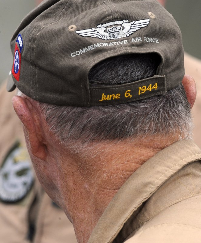 This April 9, 2019, photo, shows the hat of a crew member of the World War II troop carrier That's All, Brother during a stop in Birmingham, Ala. The World War II aircraft that took part in the D-Day invasion in 1944 is returning to Europe for the 75th anniversary of the battle. It could be the last great commemoration of the Allied battle to include D-Day veterans, many of whom are now in their 90s. (AP Photo/Jay Reeves)