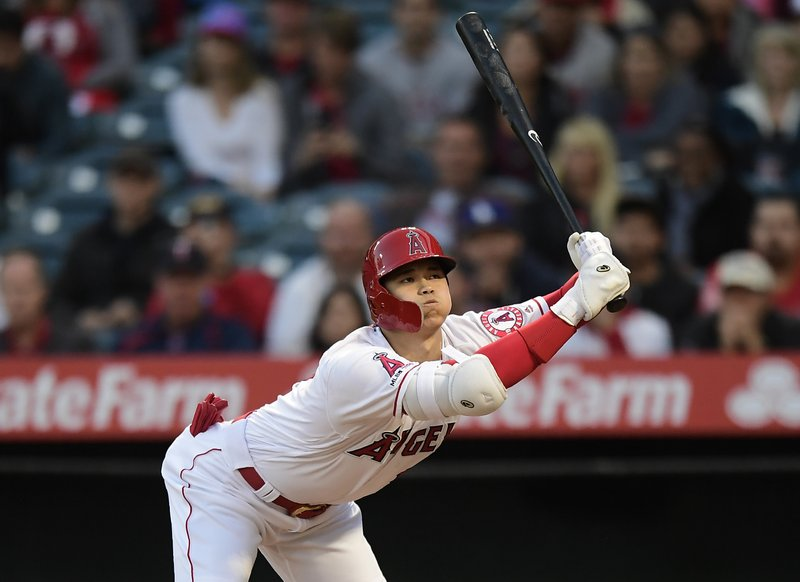 Los Angeles Angels' Shohei Ohtani, of Japan, avoids a close pitch for ball four during the first inning of a baseball game against the Minnesota Twins Monday, May 20, 2019, in Anaheim, Calif. (AP Photo/Mark J. Terrill)