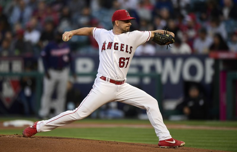 CORRECTS TO STARTING PITCHER NOT RELIEF PITCHER - Los Angeles Angels starting pitcher Taylor Cole throws to the plate during the first inning of a baseball game against the Minnesota Twins, Monday, May 20, 2019, in Anaheim, Calif. (AP Photo/Mark J. Terrill)