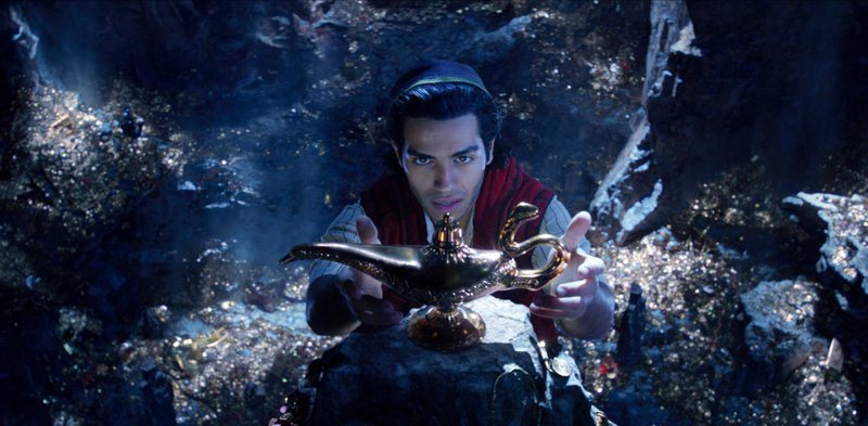 This image released by Disney shows Mena Massoud as Aladdin in Disney's live-action adaptation of the 1992 animated classic