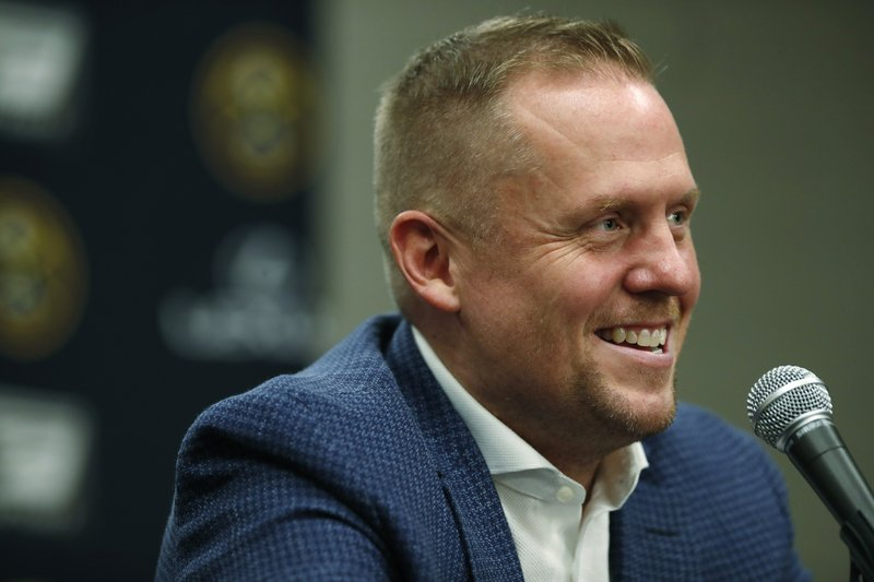 Denver Nuggets president of basketball operations Tim Connelly makes a point during a news conference Tuesday, May 21, 2019, in Denver. (AP Photo/David Zalubowski)