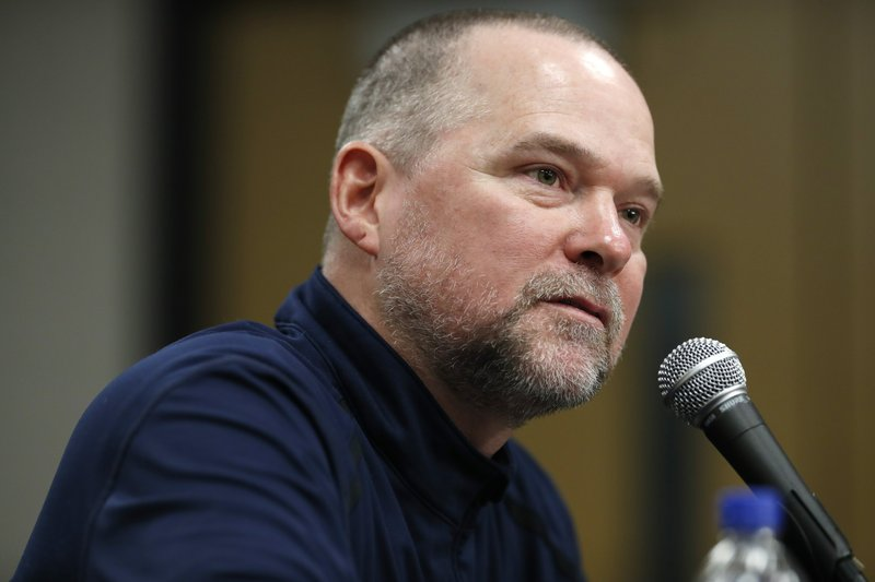 Denver Nuggets head coach Michael Malone listens to a questions during a news conference Tuesday, May 21, 2019, in Denver. (AP Photo/David Zalubowski)