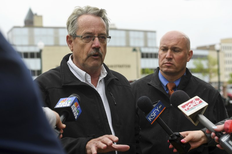 Sheriff Mike Milstead talks to the press about an officer-involved shooting outside the Minnehaha County Jail on Tuesday, May 21, 2019 in Sioux Falls, S.D. (Erin Bormett/The Argus Leader via AP)