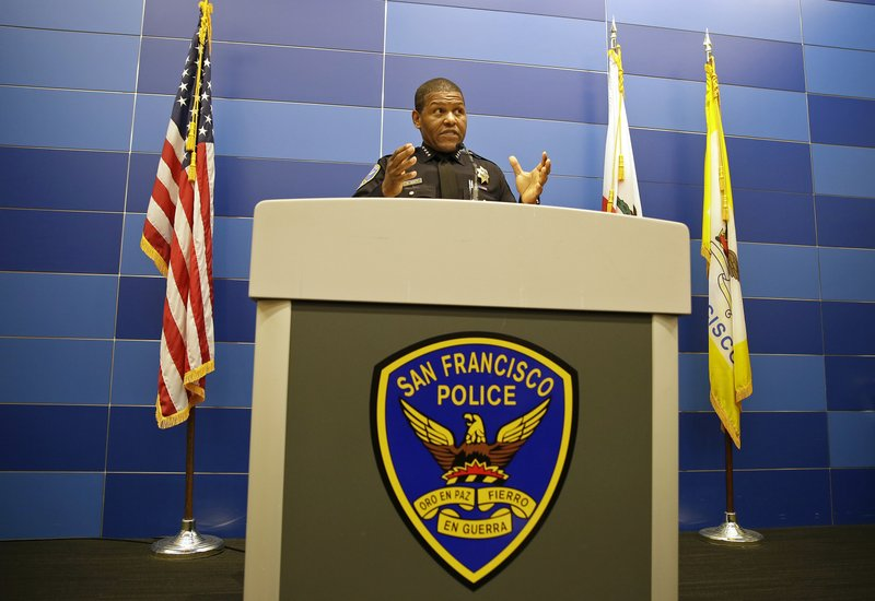 San Francisco Police Chief William Scott answers questions during a news conference, Tuesday, May 21, 2019, in San Francisco. Police agreed Tuesday to return property seized from a San Francisco journalist in a raid, but the decision did little to ease tensions in the case, which has alarmed journalism advocates and put pressure on city leaders. (AP Photo/Eric Risberg)