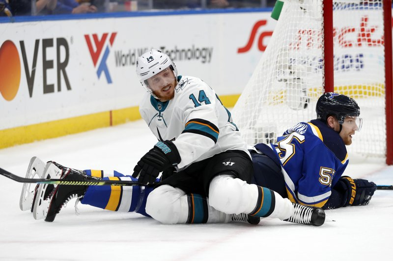 San Jose Sharks center Gustav Nyquist (14), of Sweden, gets off of St. Louis Blues defenseman Colton Parayko (55) during the second period in Game 6 of the NHL hockey Stanley Cup Western Conference final series Tuesday, May 21, 2019, in St. Louis. (AP Photo/Jeff Roberson)