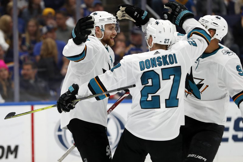 San Jose Sharks center Dylan Gambrell, left, celebrates with Joonas Donskoi (27), of Finland, and Evander Kane (9) after Gambrell scored against the St. Louis Blues during the second period in Game 6 of the NHL hockey Stanley Cup Western Conference final series Tuesday, May 21, 2019, in St. Louis. (AP Photo/Jeff Roberson)