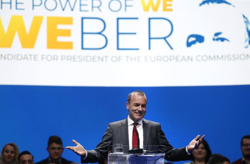 FILE - In this Saturday, May 18, 2019 file photo, Germany's Manfred Weber of the European People's Party addresses the audience at the Croatian Democratic Party assembly in Zagreb, Croatia. The European Parliament elections have never been so hotly anticipated or contested, with many predicting that this year's ballot will mark a coming-of-age moment for the euroskeptic far-right movement. The elections start Thursday May 23, 2019 and run through Sunday May 26 and are taking place in all of the European Union's 28 nations. (AP Photo/Darko Vojinovic, File)